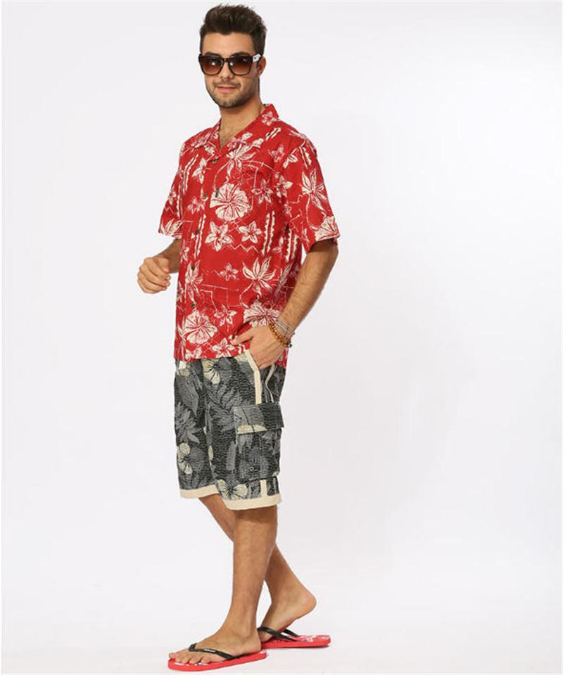 99e926cf58433 2019 Wholesale Summer Style Hawaiian Shirt US Size Cotton Short Sleeved  Hawaiian Shirts Men Casual Beach Hawaii Shirt Red Floral Printed A934 From  Longmian