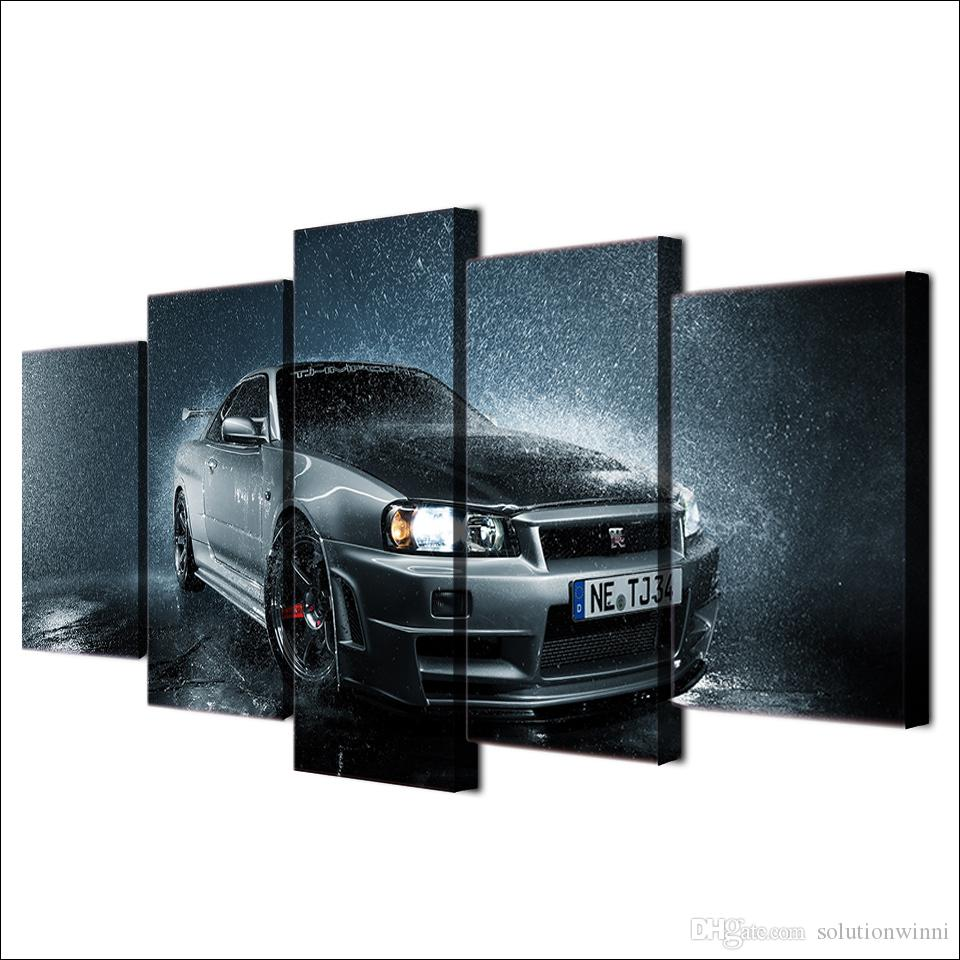 Framed Printed Mordern Luxury Grey Car In Rain Poster Modern Home Wall Decororation Canvas Wall Picture Print Painting