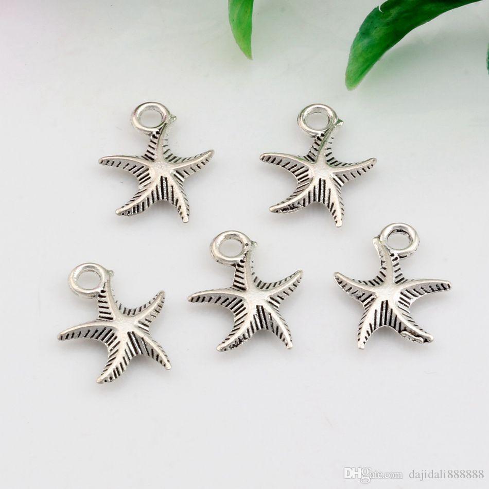 Vente chaude ! vieilli argent zinc alliage étoile de mer 3D Charms pendentifs 13 mm x 17 mm bricolage bijoux A-033
