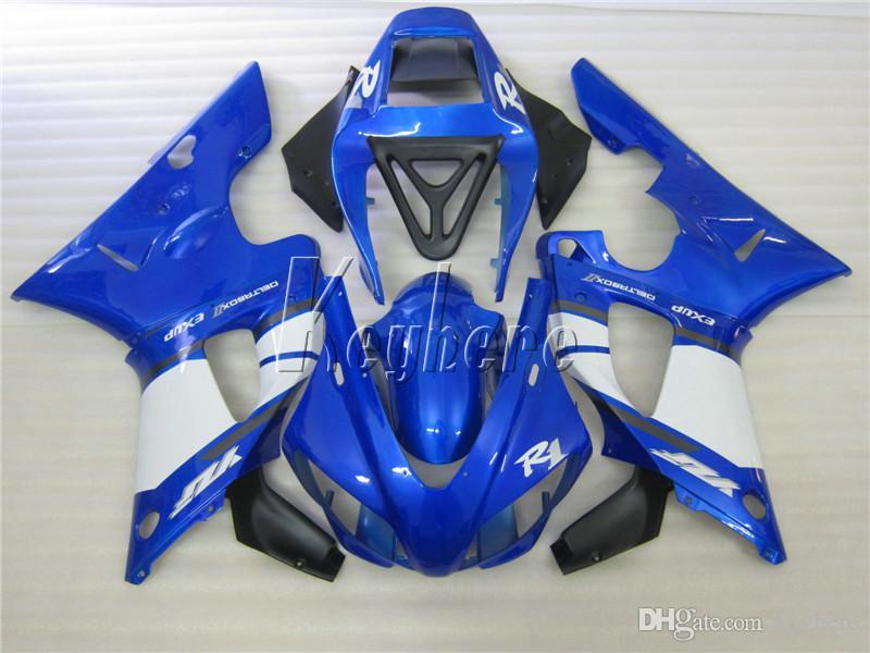 Motorrad Verkleidungssatz für Yamaha YZF R1 1998 1999 blau weiß schwarz Karosserie Verkleidungen Set YZF R1 98 99 IY04