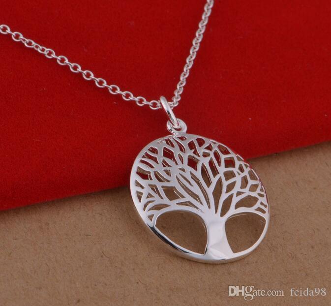 Artikel 925 Mode am beliebtesten heißen Silber überzogene Baum des Lebens Anhänger Halskette 18inch Großhandelspreis Kostenloser Versand