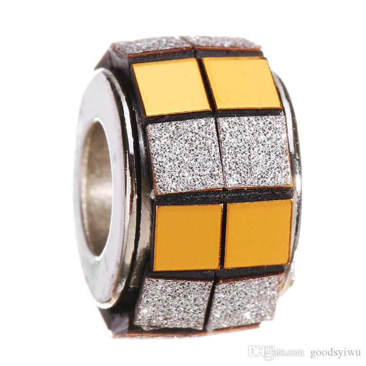 5 мм Тибетский серебряный ручной работы большое отверстие свободные бусины куб полоса Европейский подвески хрустальные бусины ювелирные изделия XZ98