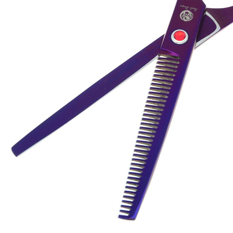 7.0 Inch Purple Dragon Forbici da taglio Forbici diradanti Curve Cesoie Forbici Pet professionali cani Grooming Tesoura Puppy, LZS0367