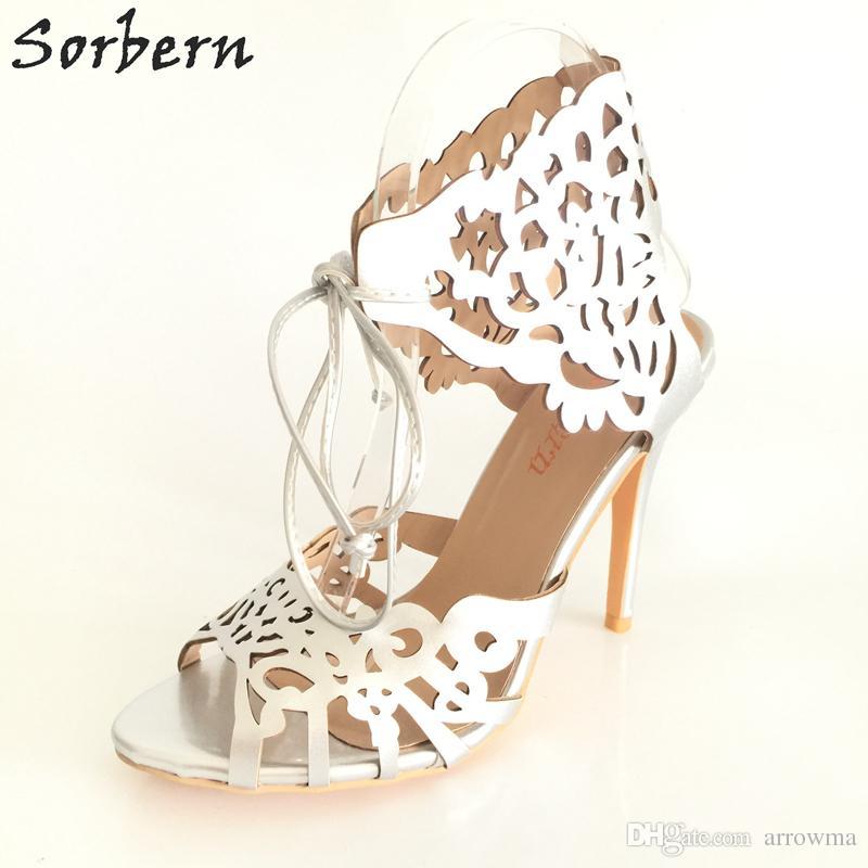 9c443583a8c4 Modern Laser Cut Wedding Shoes Heels Custom Pumps Tie Closure Stiletto  Heeled Ladies Shoes 3.5 High Metallic Wrapped Heels Women Sandals Yellow  Bridal Shoes ...