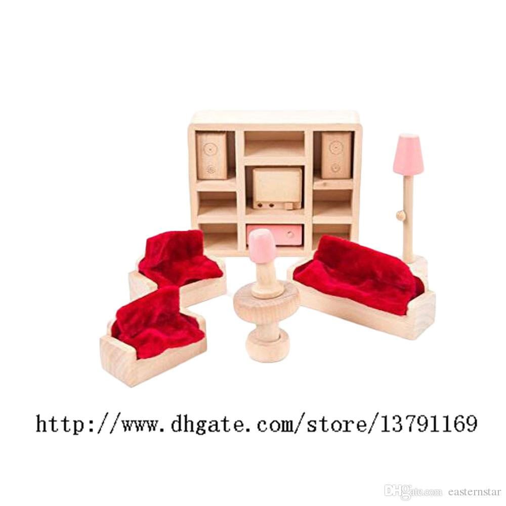 Miniature Furniture Model Playset Pink Wooden Living Room Early Educational Toy for Kid Child Baby Play