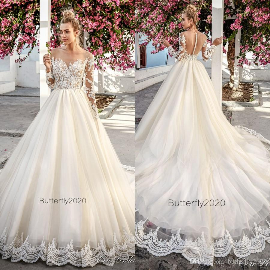 Discount Champagne Tulle Lace Wedding Dresses Sleeves Sheer Illusion ...