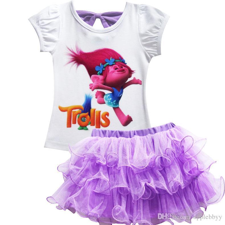 Trolls Baby Girl Clothes Summer Casual Conjuntos niños camiseta de algodón falda vestido 2 piezas trajes cumpleaños ropa para niños