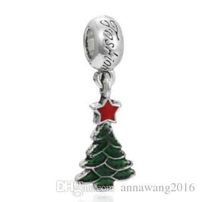 Fits Sterling Silver Bracelet Christmas Tree Green Enamel Beads Charms For European Snake Charm Chain Fashion DIY Jewelry Wholesale