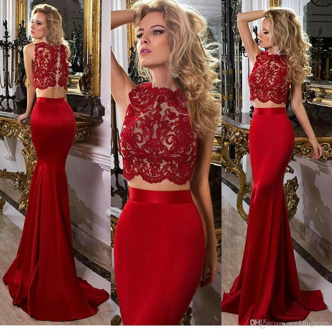 Pas cher Rouge Deux Pièces En Dentelle De Bal Robes Bateau Cou Sirène Robes De Soirée Etage Longueur Satin Sur Mesure Formal Dress