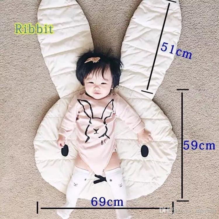 106*68cm lovely white rabbit play mat kids room baby mat 100% cotton rug also can be used as small quilt blanket baby