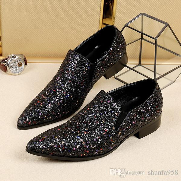 9cf9bed60ad9 2017 Popular Men S Black Glitter Dress Shoe High Heeled Pointed Man  Business Party Shoes British Personality Sequins Fashion Wedding Shoes  Sperry Shoes ...