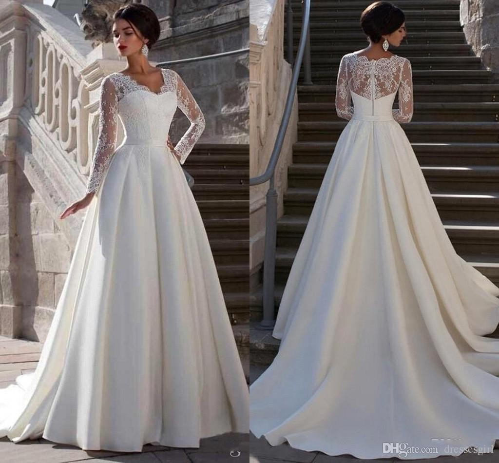 Discount 2017 Long Sleeves Lace Wedding Dresses A Line V Neck Appliques Elegant Backless Zipper Sweep Train Western Garden Summer Formal Bridal Gowns