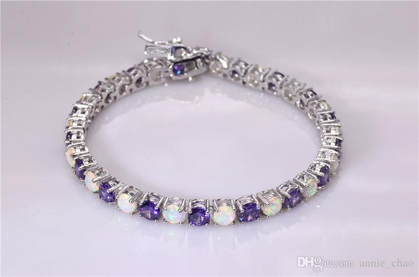 Moda al dettaglio all'ingrosso 7,5 pollici Fine Rinbow bianco fuoco opale braccialetto 925 sterling gioielli in argento donne _DSC3189