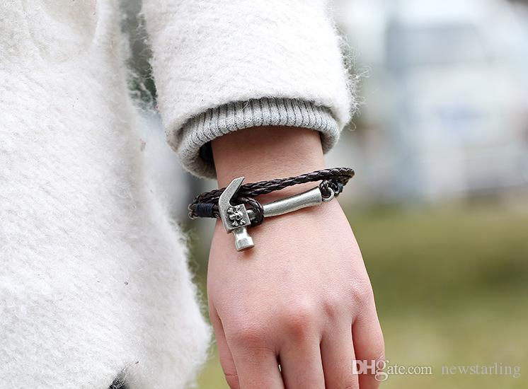New Retro Punk Pirate Style Fashion Hammer Leather Bracelet Charm Hand-woven Multi-layer Bracelet For Men and Women Simple Real PU Bracelet