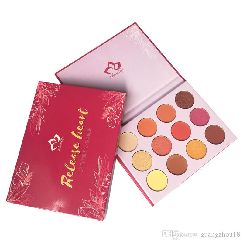 Neue Marke Aurelife Release Herz Gedrückt Pulver Nake Shadow Palette Matte Shimmer 12 farbe Lidschatten-palette Wärme Lidschatten 240 stücke