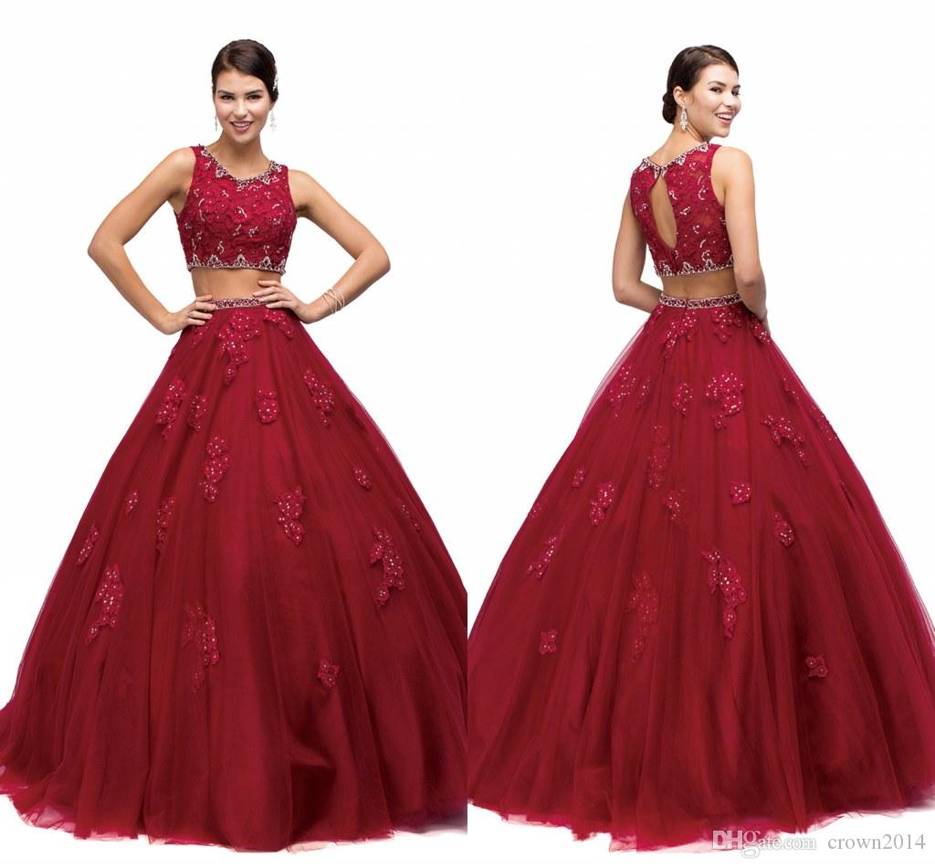 3e231206f3a 2018 Burgundy Two Piece Quinceanera Dresses Ball Gown Sweet 16 Dress Lace  Appliques Beaded Backless Long Sweep Train Party Prom Gowns Design Your Own  ...