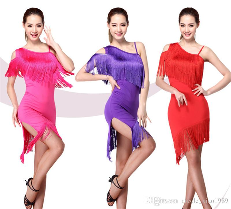 HOT SALE New Latin dance dresses adult sexy shoulders tassels rumba Sasa tango samba costume competition Latin practice clothing