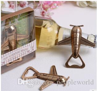 Novelty Plane Bottle Opener Gold Wedding Favors and gifts Wedding supplies Party Guests gift box Presents