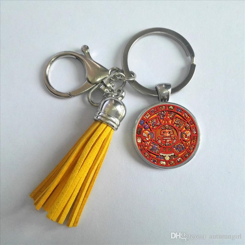 Red and White Aztec Keychain