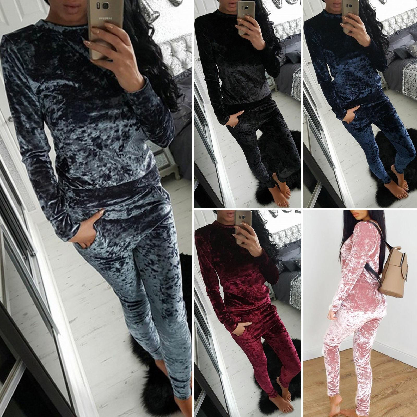 Womens Ladies Crushed Velvet Tracksuit Sweatshirt Pants Sets Pajamas Sport  Suit Activewear Outfit Outwear UK 2019 From Erinzhang 769a4a8afd