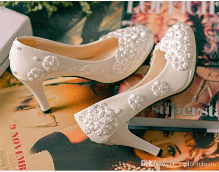 Tatlı Ucuz Düz İnciler Düğün Ayakkabı Gelin 3D Için Dantel Aplike Balo Yüksek Topuklu Ayak Bileği Kayışı Artı Boyutu Sivri Burun Gelin ayakkabı
