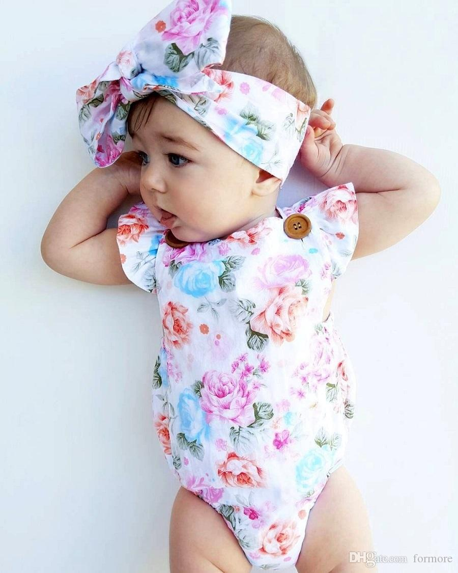 2017 Summer Clothes Kids Baby Rompers Newborn Kid Girl Boutique Onesies Toddler Floral Blouse Foreign Children Clothes Infant Fashion outfit