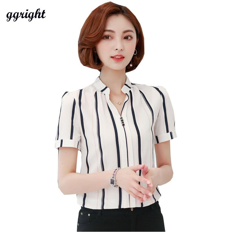 2b5d47f9062 2019 2017 Summer Style Womens Blouses Ladies Tops Women Blouse Shirt Casual  Short Sleeve V Neck Chiffon Print Shirts Plus Size Blusas From Billstone
