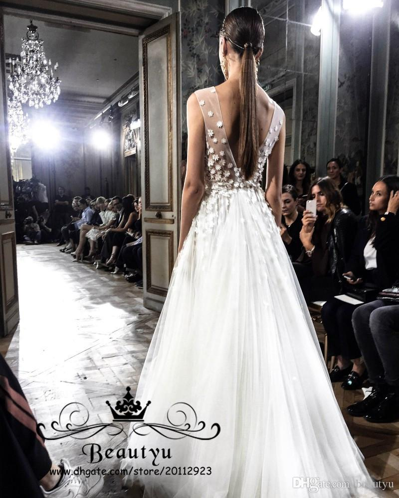 Liz Martinez Beach Wedding Dresses 2018 With 3D Floral A Line Sexy V Neck Backless Illusion Plus Size Elegant Country Toddler Bridal Gowns