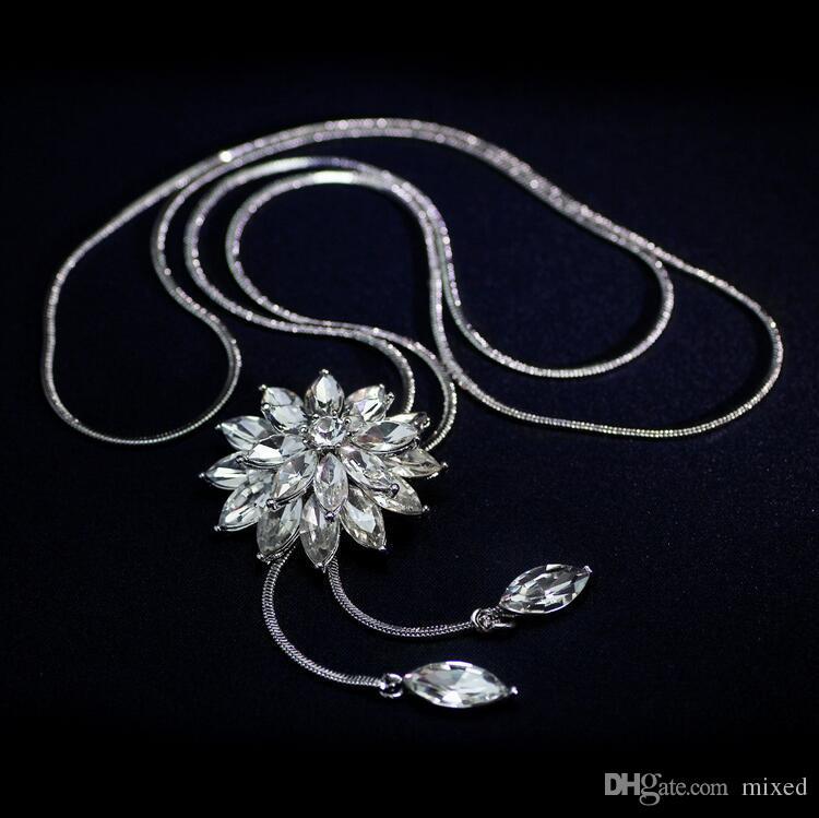 Zircone lungo fiocco di neve collana catena maglione Moda fine catena di metallo con strass fiore ciondolo collane regolate