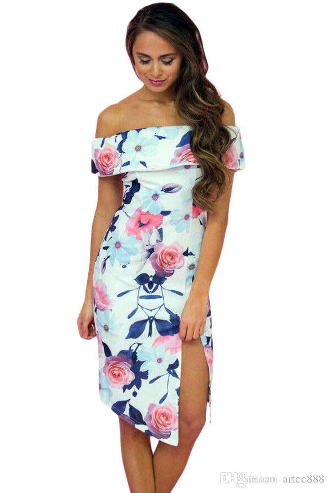Großhandel Neue Art Und Weise Reizvolles Gedrucktes Kleid Slash ...