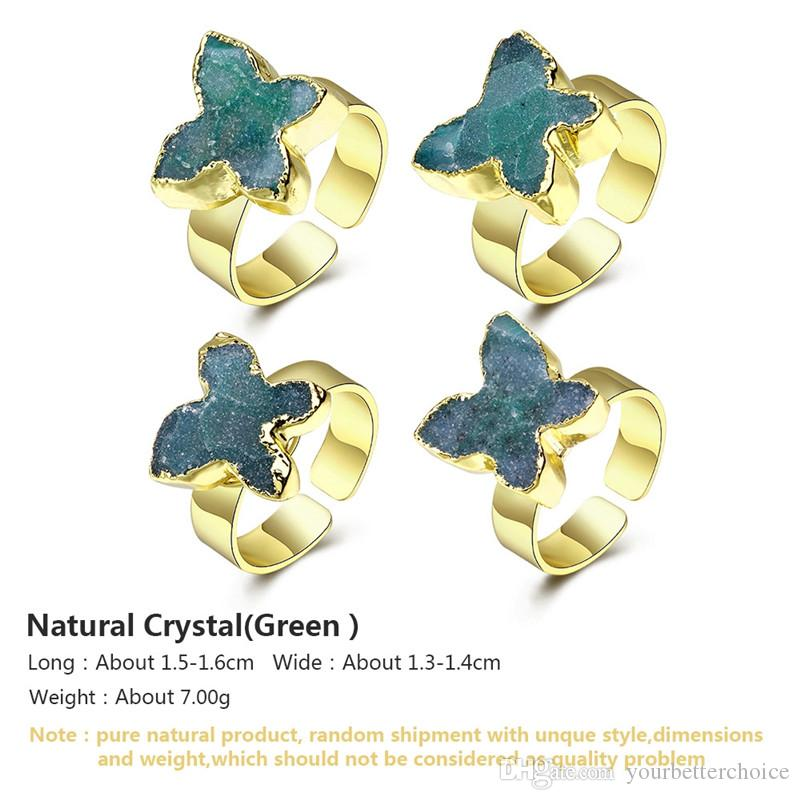 Unique Gold Plated Women's Open Adjustable Bezel Setting Butterfly Green Raw Natural Crystal Ring