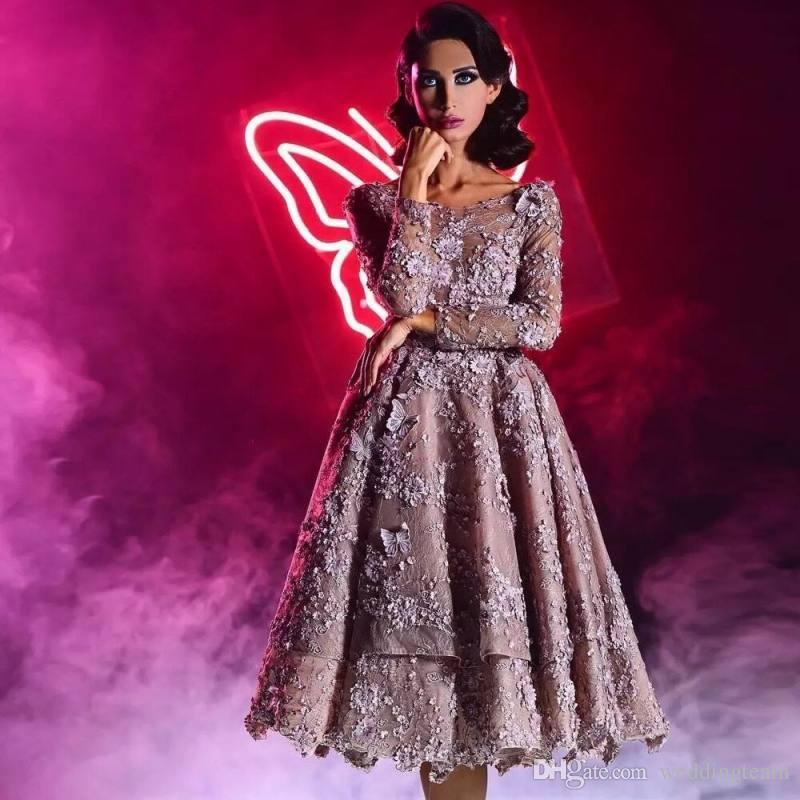 Stilvolle 3D Appliqued Spitze Promkleider Bateau Ansatz Backless Abend-Kleider Sleeves eine Linie Vestidos De Fiesta Tee Länge bördelte formales Kleid