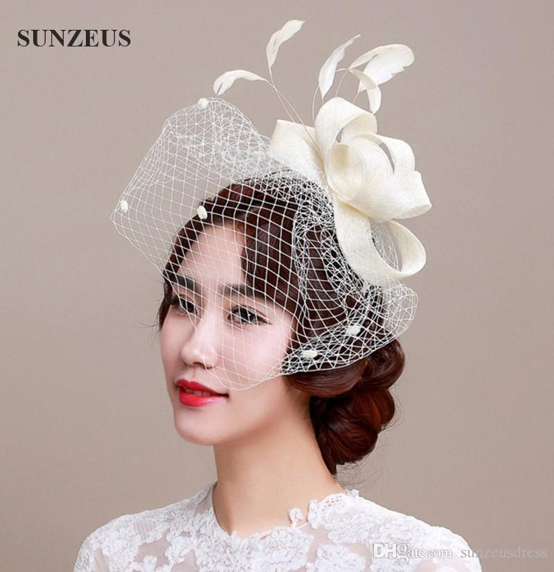 Hot Sale Ivory Vintage Wedding Hat Western Country Style Hand-made Bridal Head Accessories Feather Birdcage Fascinator