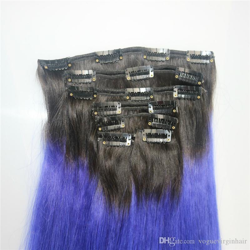 İnsan saç uzantıları 1b mor insan saçı ombre klip ins sarışın düzensiz klibi ipeksi düz