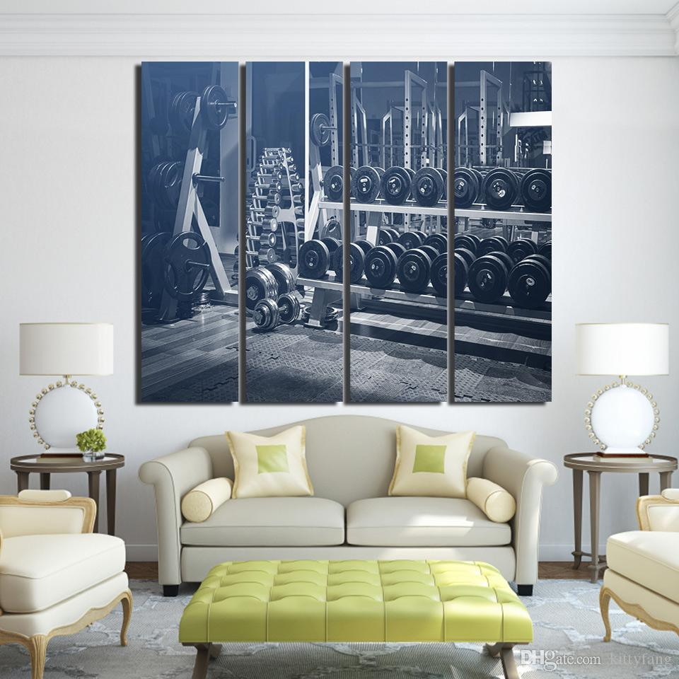 Canvas Paintings Printed 4 Pieces Dumbbells Exercise Healthy Wall Art Canvas Pictures For Living Room Home Decor up-1279D