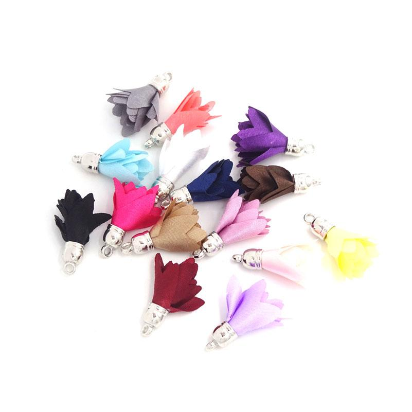 Small Silk Satin Flower Tassel Pendants For Jewelry Making 27mm Earrings Findings Diy Craft Materials