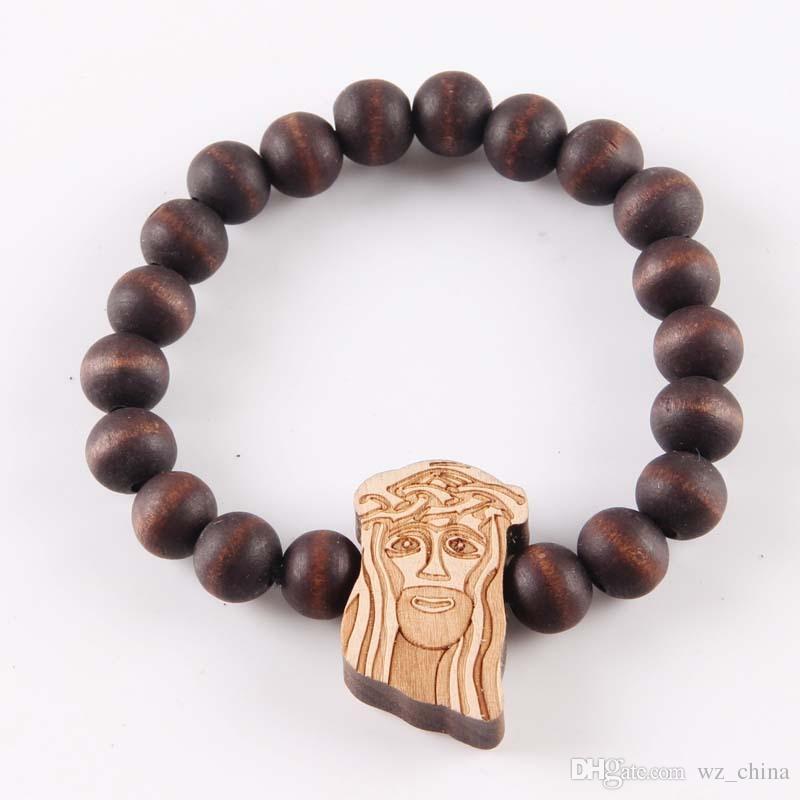 Hiphop goede hout armbanden Jezus stuk hiphop armband natuurlijke goodwood NYC verstelbare macrame 10mm kralen religieuze armbanden voor mannen