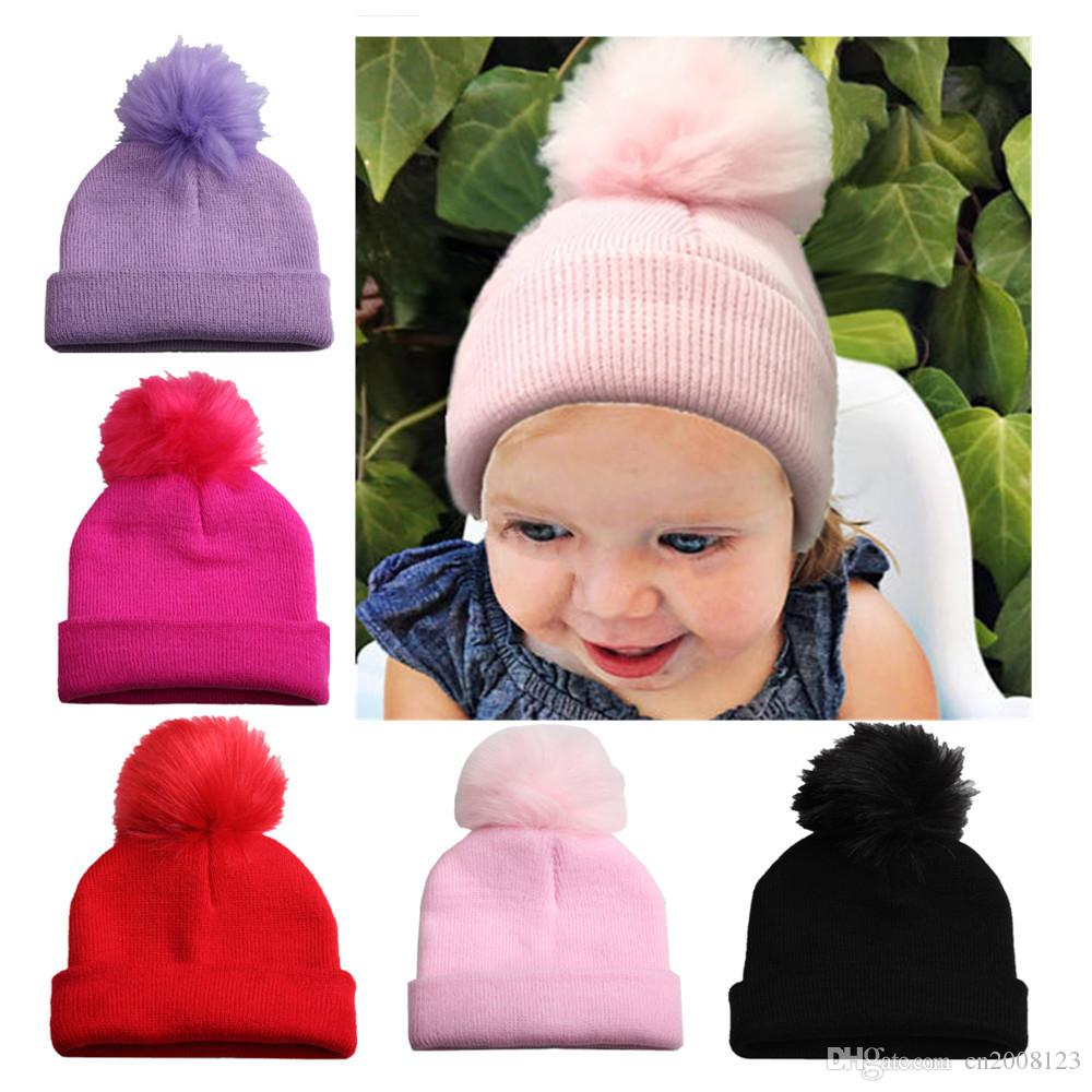 Kids Winter 15*17*10cm Knitted Hat Pompom Ball Warmer Wool Fur Baby Boys Girls Caps Crochet Knitted Hats Skull Caps Pompom Beanies BM101