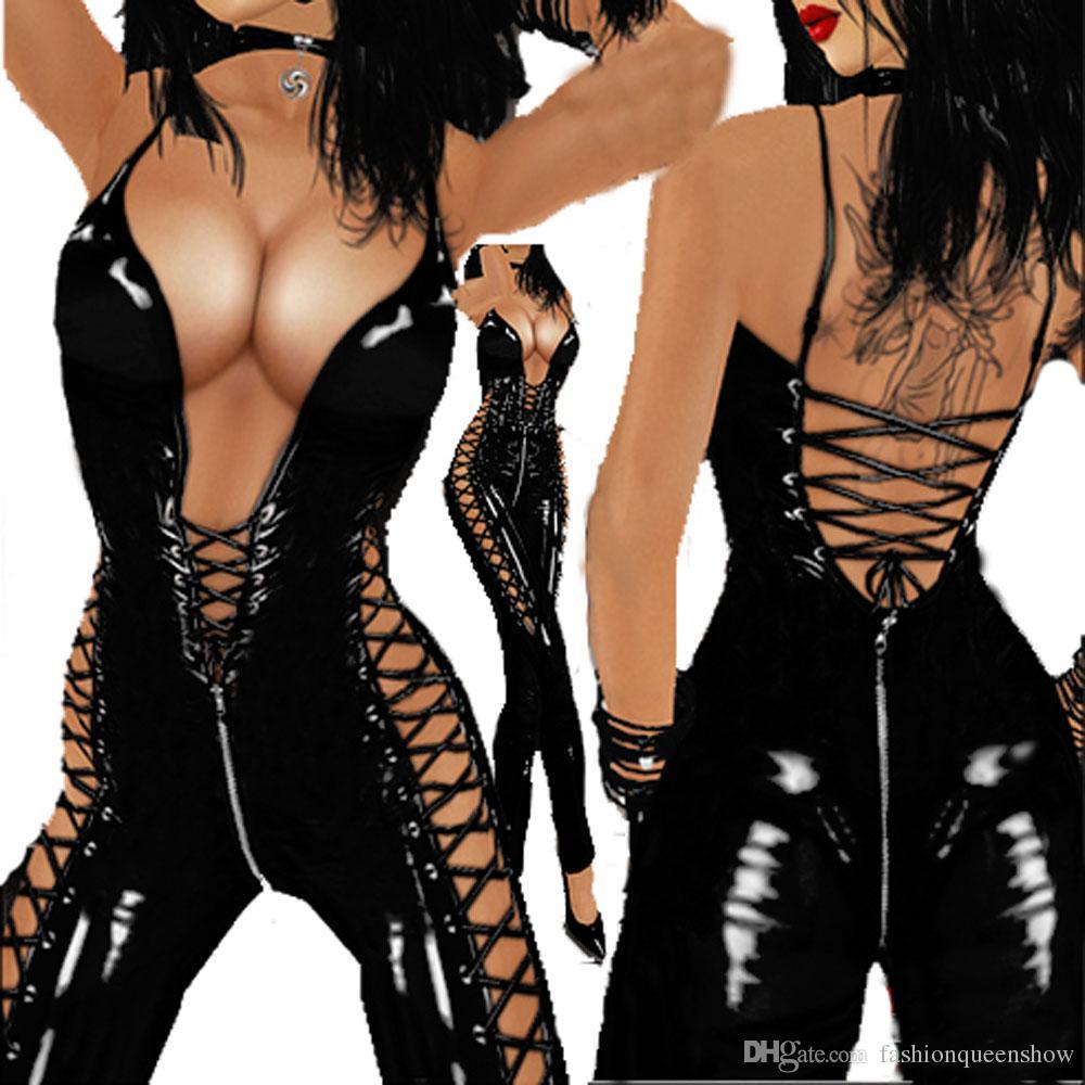 Nouveauté Style Femmes Sexy Costume À Lacets Brillant Noir Catsuit Danse Clubwear Combinaison Sans Manches Jupe À Dos Dos Justaucorps Latex Comme Des Bodys