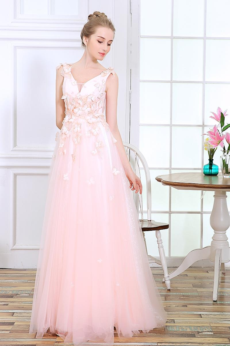 Poemssongs 2017 New Style High Quality Butterfly Pink Wedding Dress ...