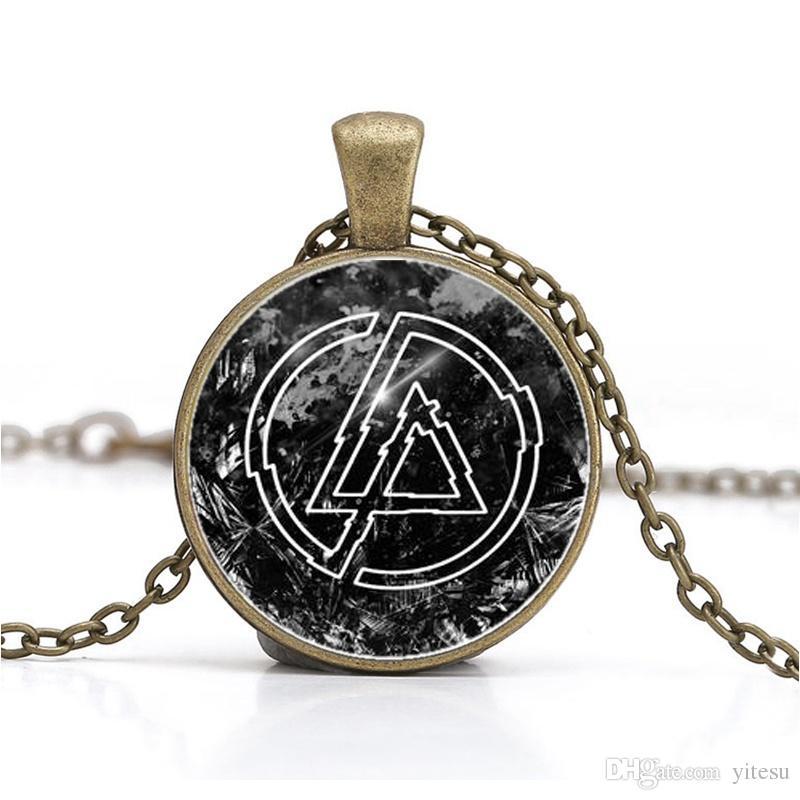 Toptan Bildirimi Linkin park Logo Kolye Kolye Takı DIY Yuvarlak Cam Lincoln Park Band Kolyeler Hediyeler Erkekler Aksesuarları Için