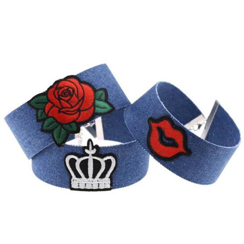 Statement Necklaces Punk Denim Embroidery Choker Necklace for Women Collar Rose Cool Heart Diamond National Flag Crown Charm Jewelry