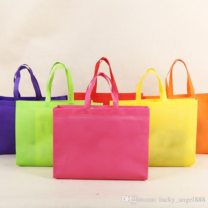 Color Plain Non Woven Horizontal Version Reusable Shopping Bags ...