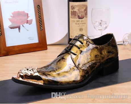 8646e00dcaf4 Luxury Personalized Gold Men Leather Shoes Fashion Lace Up Business Leisure  Wedding Party Shoes Metal Charm Pointed Toe EUR38 46 Orthopedic Shoes ...