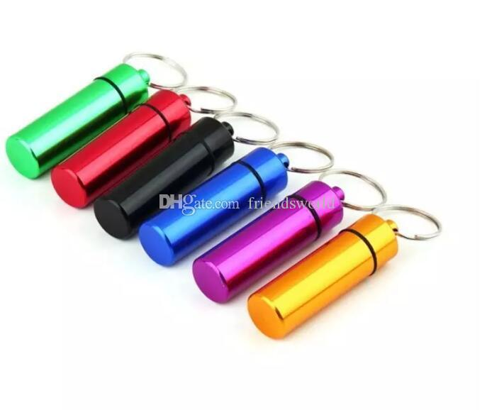 Waterproof Aluminum Pill Box Case Bottle Cache Pill Holder Container Keychain Medicine Box Health Care Hot Selling
