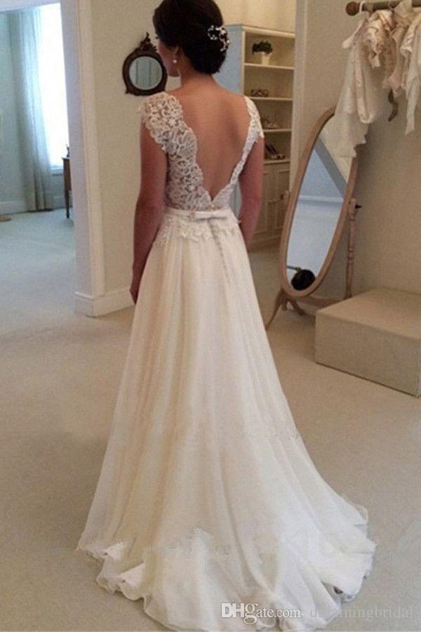 Vestido de boda sin tirantes largo elegante del cordón 2017 nueva línea de un vestido de boda sin mangas barato blanco vestidos de novia de la gasa del arco