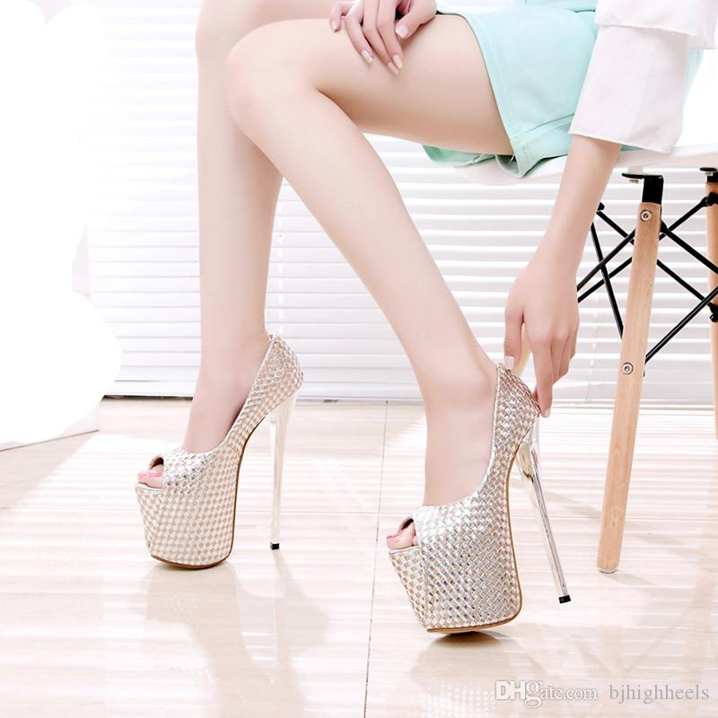 e4f0eed068c 19CM Heel Height Sexy Peep Toe Stiletto Heel Platform Party Shoes ...