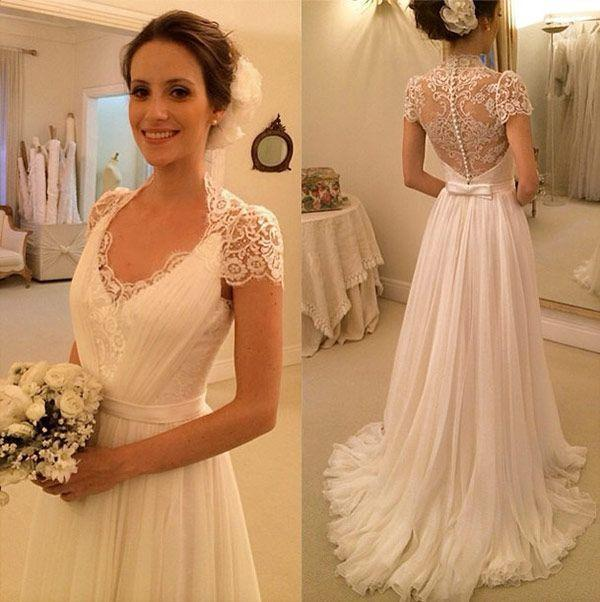 Элегантный пляж свадебные платья линия Cap рукавом шифон кружева свадебное платье Свадебные платья старинные Vestidos де новия