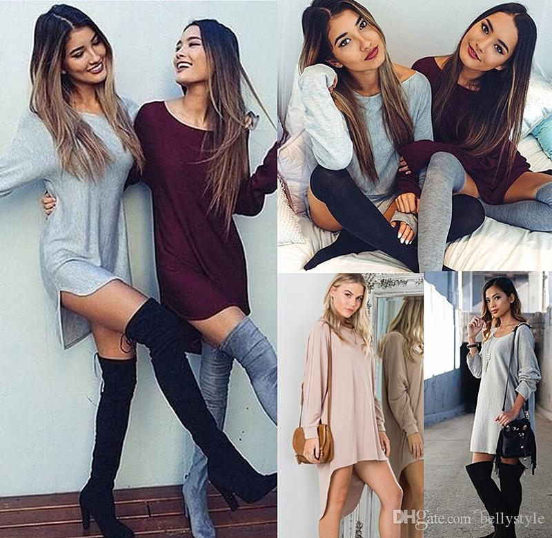 Womens Ladies Long Sleeve Jumper Tops Fashion Girls Oversized Baggy Sweater  Casual Loose Tunic Jumpers Mini Dress Evening Dresses With Sleeves Trendy