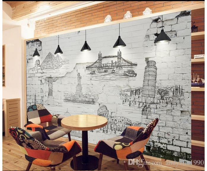 3d Photo Wallpaper Custom 3d Wall Murals Retro Wall Tiles World Name  Architecture Hand Painted Line Drawing Backgr 3d Living Room Wall Decor  Free Desktop ...